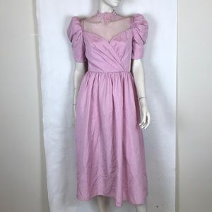 Vtg 80s pink Victorian lace puff sleeve dress S